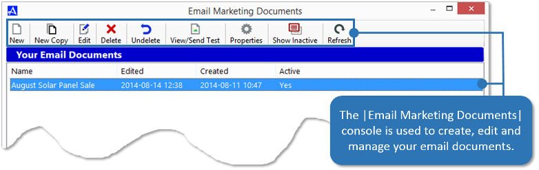 Email Marketing Documents Console