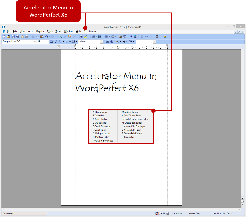 Office Accelerator Menu in WordPerfect X6