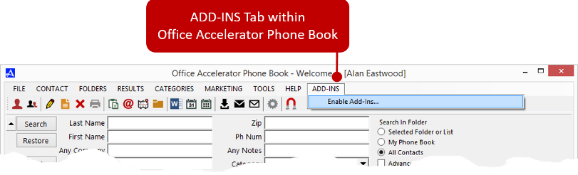 ADD-INS tab within Office Accelerator Phone Book