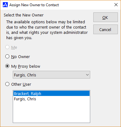 Assign Contact Owner Dialogue Box