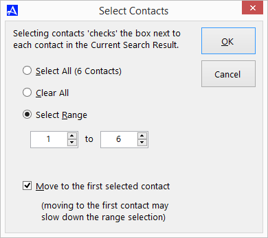 Select Range of Contacts