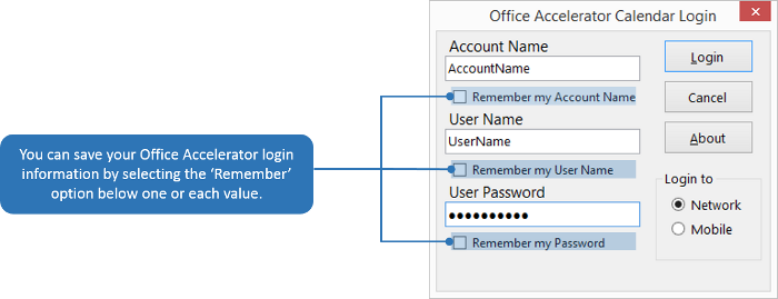 Save Office Accelerator Auto-Login Settings