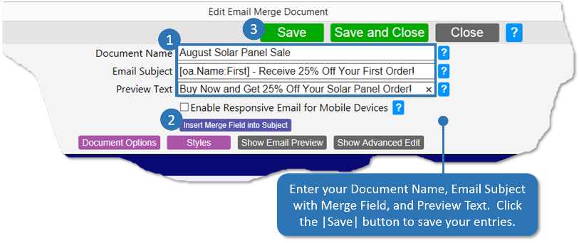 Enter Document Name, Subject, Preview Text and Save