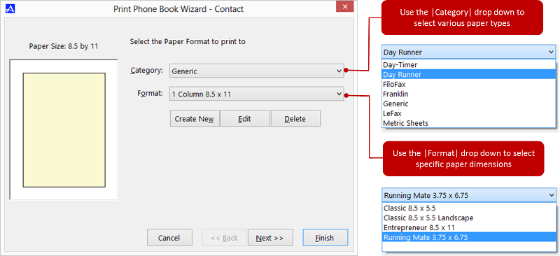 Office Accelerator Print Wizard dialog Box (Paper Type Selection)