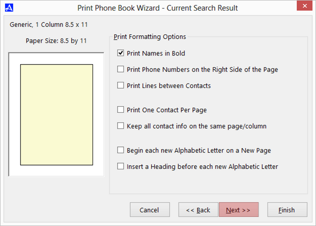 Office Accelerator Print Wizard dialog box (Print Format Selections)