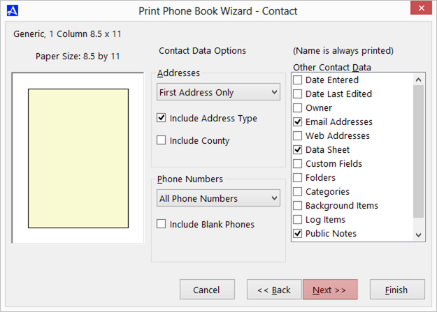 Office Accelerator Print Wizard dialog box (Contact Field Selections)
