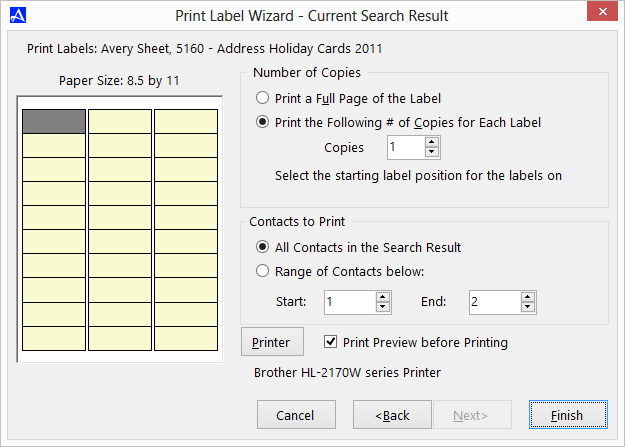 Office Accelerator Print Label Wizard Screen (Format Selections)