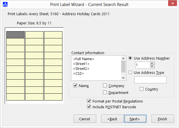 Office Accelerator Print Label Wizard Screen (Address Selections)