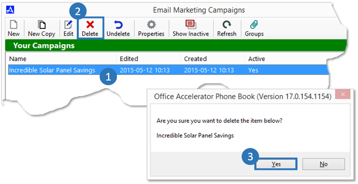 Delete Accelerator Email Marketing Campaign
