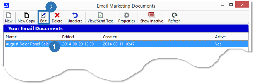 Edit Email Document