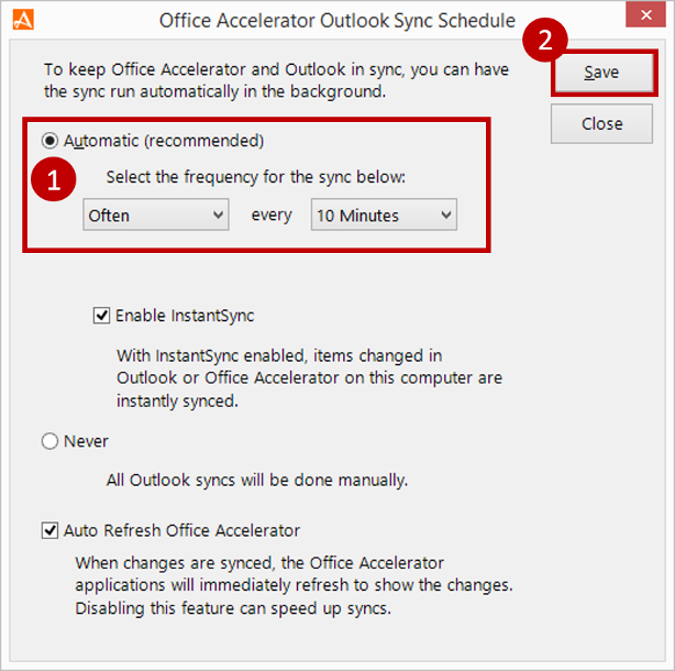 Set Accelerator to Outlook Sync Duration