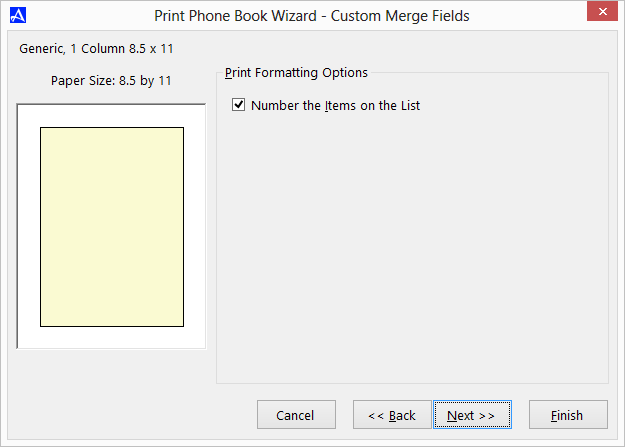 Office Accelerator Print Wizard - Printing Custom Merge Fields (Selecting Item Numbering)