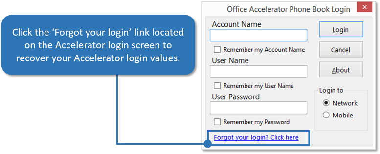 Forgot your Login Link