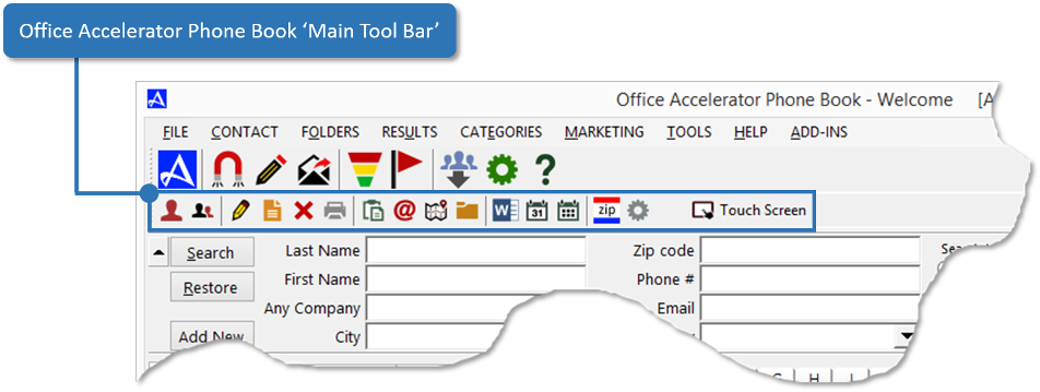 Office Accelerator Phone Book Main Tool Bar