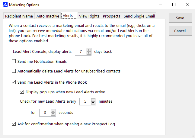 Alerts - Accelerator Email Marketing Options