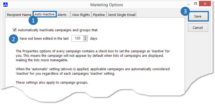 Auto-Inactive - Accelerator Email Marketing Options