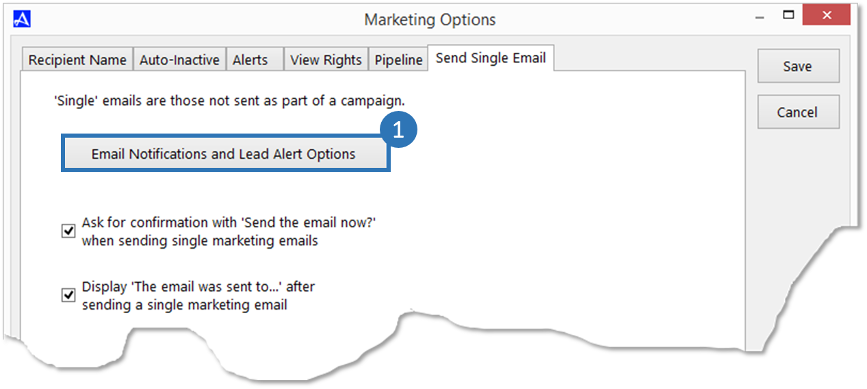 Modify Alert Notifications and Lead Alerts for Single Emails