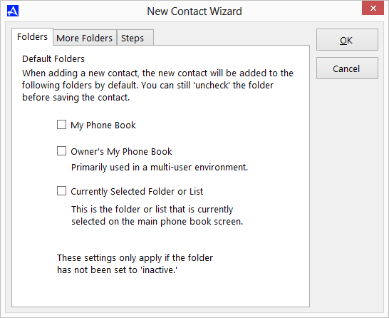 New Contact Wizard Options