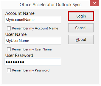 Office Accelerator Outlook Sync Login Screen