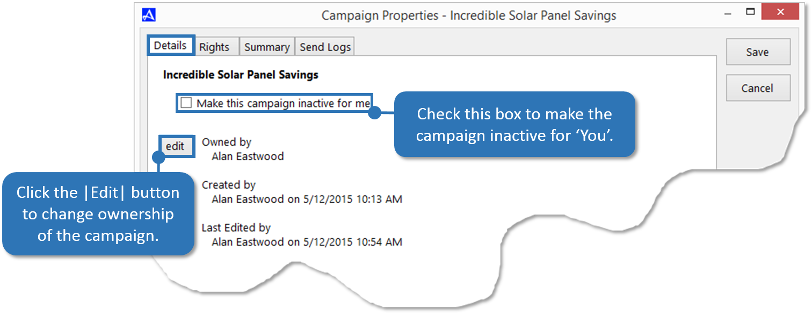 Campaign Details Tab