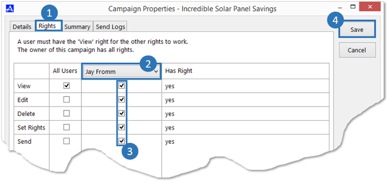 Campaign Rights Tab