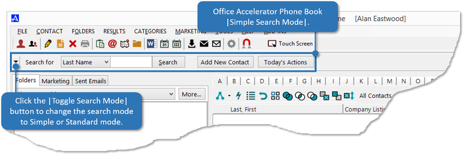 Office Accelerator Simple Search Mode