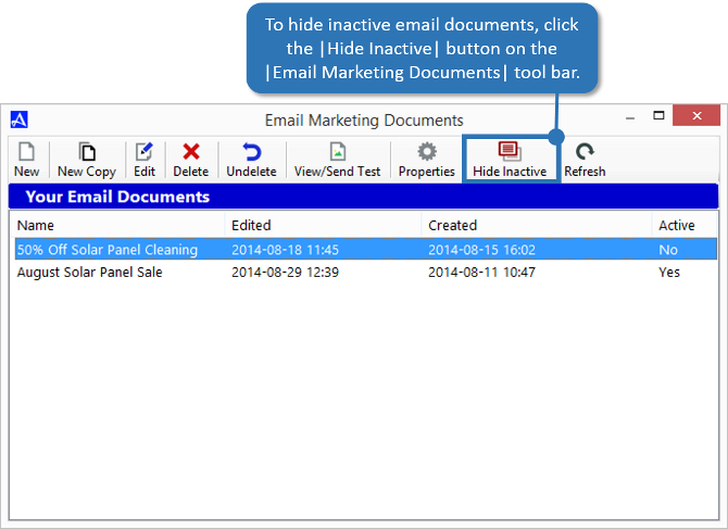 Hide Inactive Email Documents