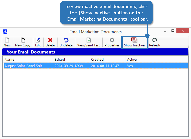 Show Inactive Email Documents