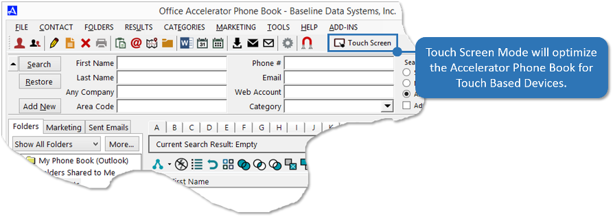 Accelerator Phone Book Touch Screen Mode