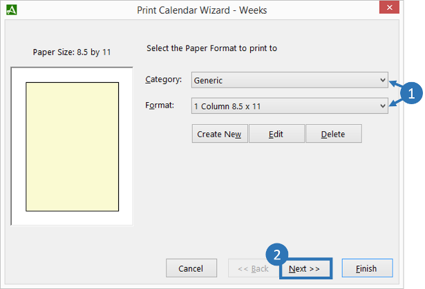 Print Calendar Wizard - Paper Type Selection